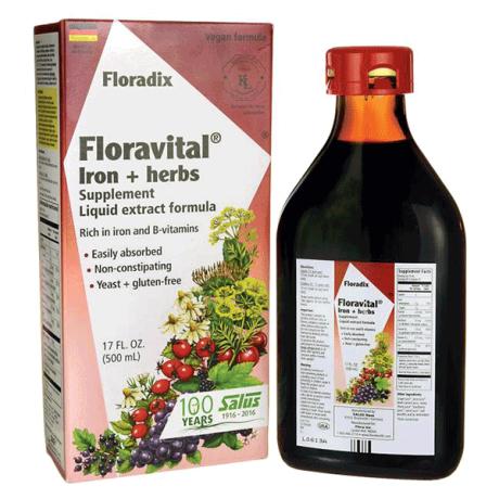 Floravital - liquid iron & vitamins, yeast & gluten free