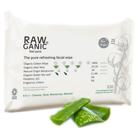 Organic Rawganic Facial Cleansing Wipes
