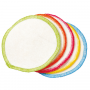 10 washable cotton coloured facial pads in a drawstring bag