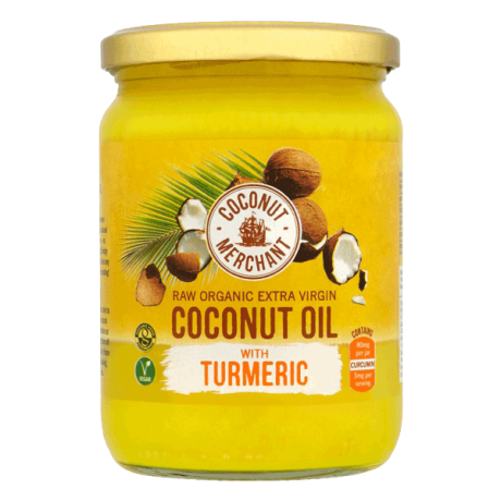 Organic Coconut Oil - raw with Turmeric - glass