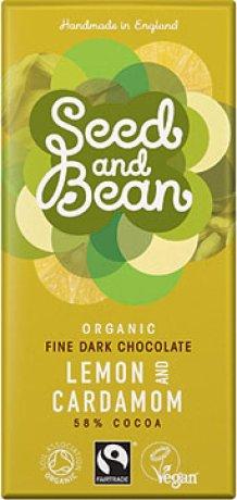 Organic Lemon & Cardamom Dark choc Bar - 58%